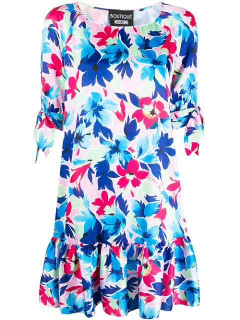 Short Sleeve Floral Print Dress With Ruffle Hem
