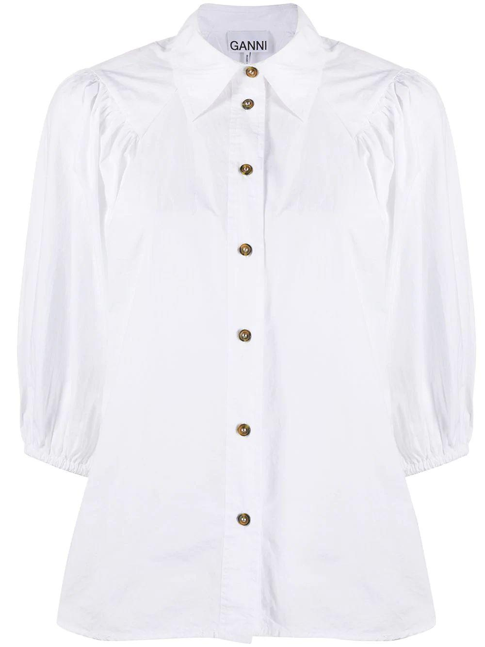 Cotton Poplin Puff Sleeve Button Down