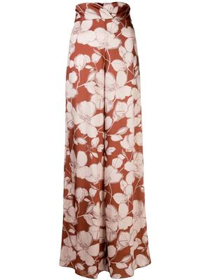 Haruna Leaf Floral Wide Leg High Waisted Pant