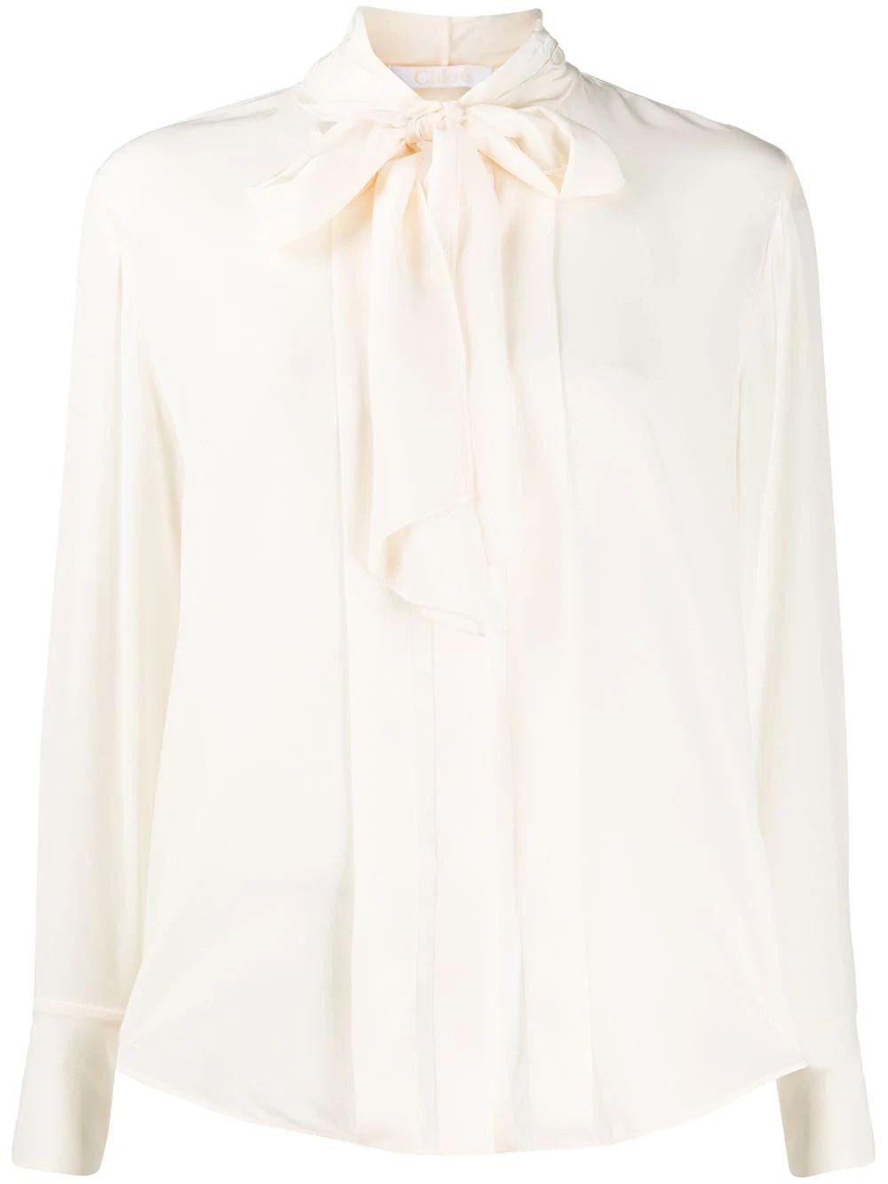 Long Sleeve Crepe De Chine Blouse With Neck Tie