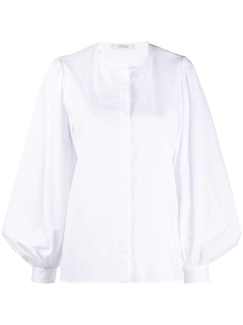 Poplin Power Long Puff Sleeve Blouse