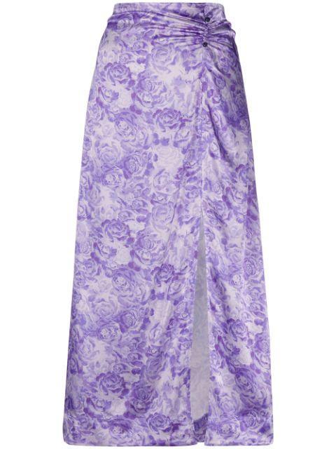 Heavy Satin Printed Midi Skirt