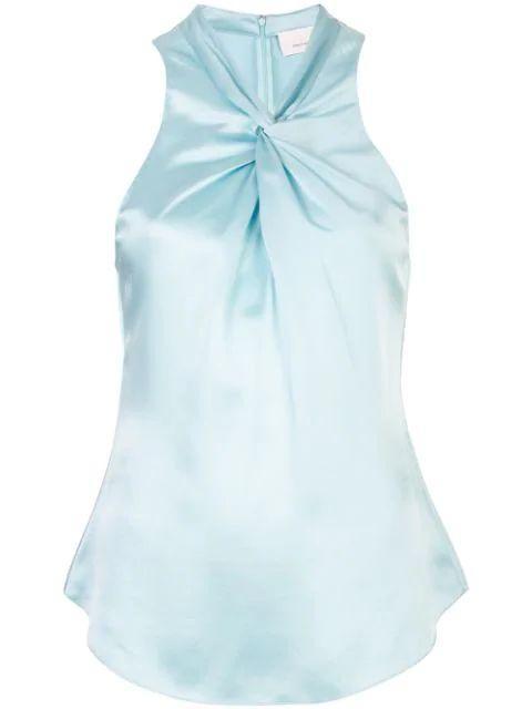 Lauren Satin Knot Front Sleeve Less Top