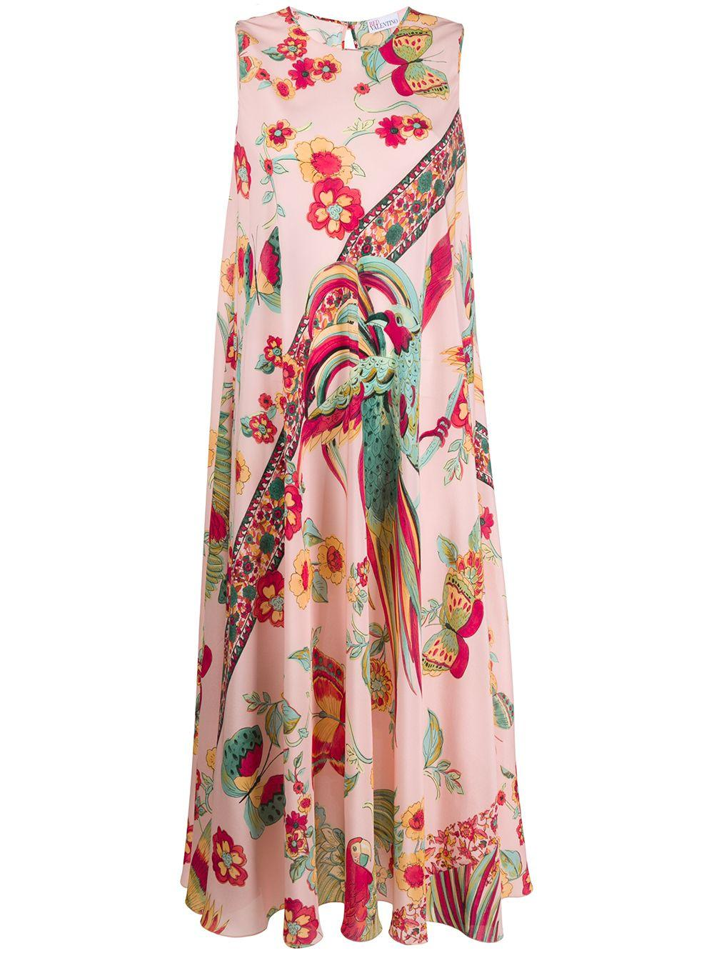 Sleeveless Bird of Baradise Print Midi Dress