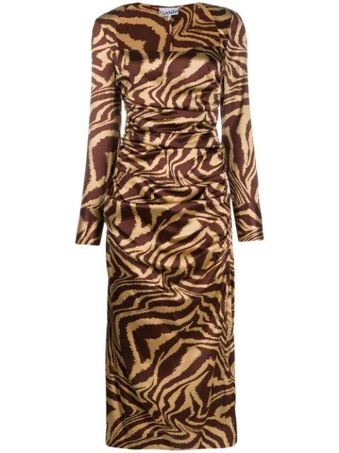 Stretch Silk Satin Zebra Ruched Midi Dress