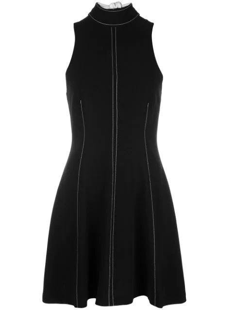 Angie Top Stitch Sleeve Less Halter Mini Dress