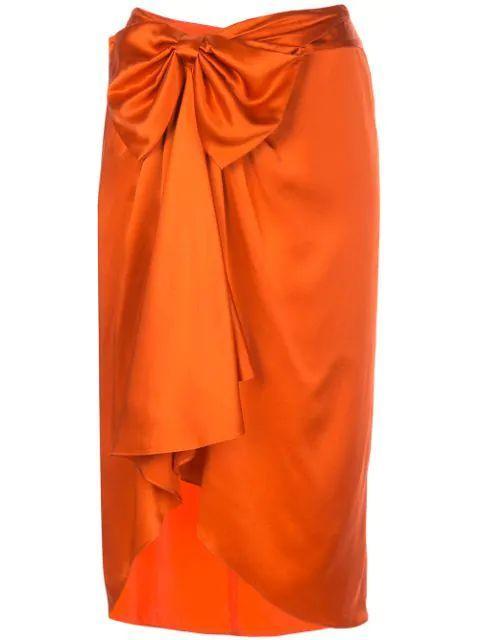 Emma Satin Side Bow Gathered Midi Skirt