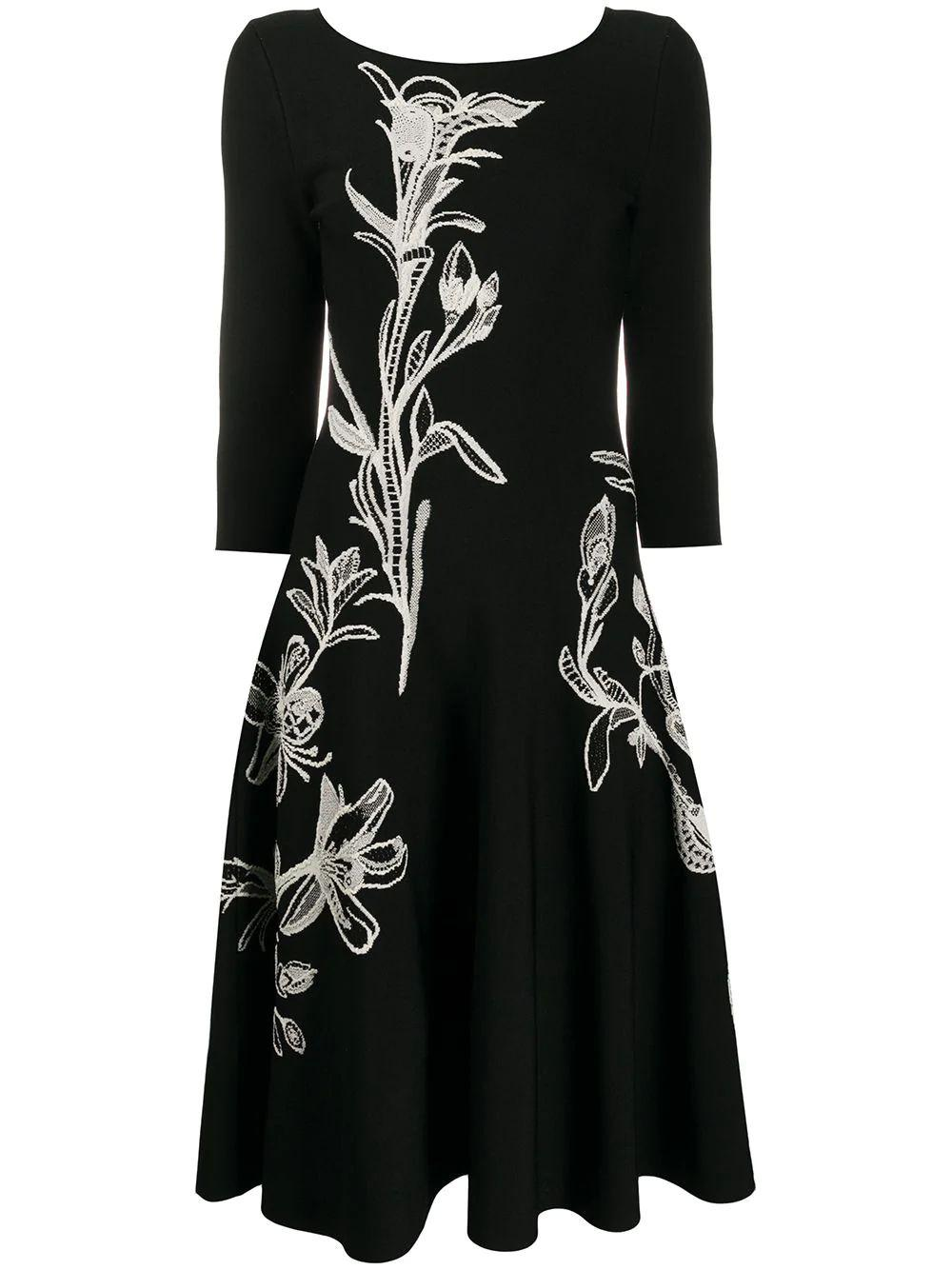 Long Sleeve Embroidered Knit Dress Item # 622747Q1AOS