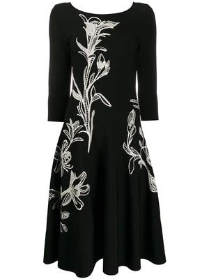 Long Sleeve Embroidered Knit Dress