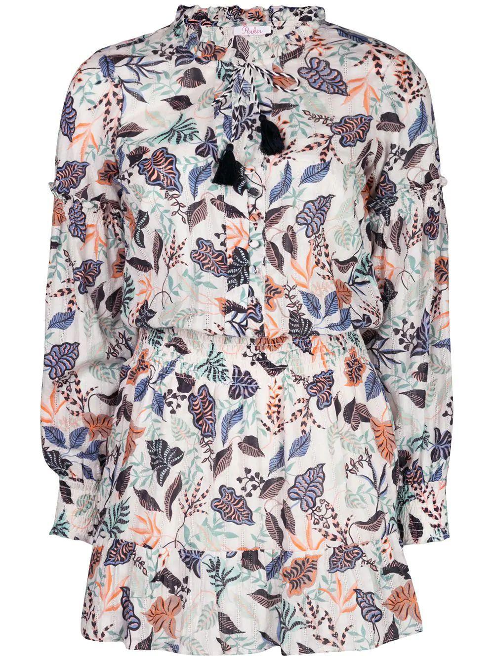 Laura Ruffle Collar Printed Dress