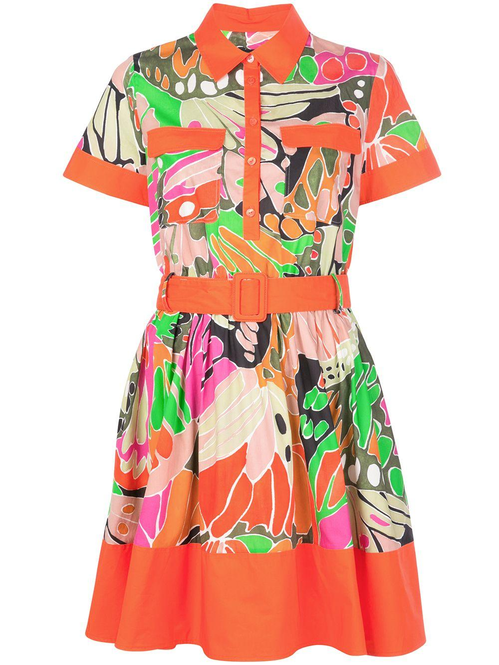 Short Sleeve Printed Dress With Collar Item # 210/R58