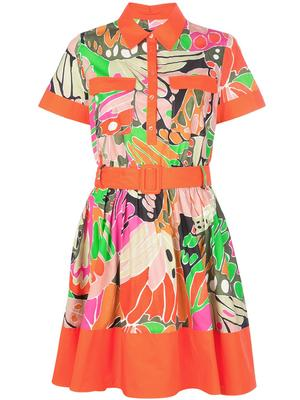 Short Sleeve Printed Dress With Collar