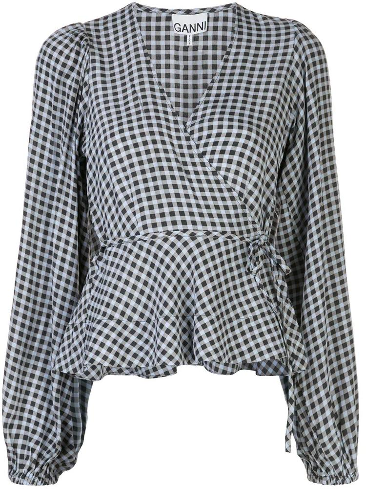 Printed Crepe Gingham Wrap Shirt