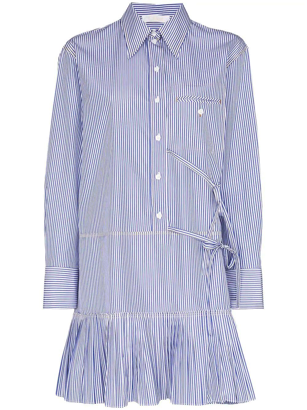 Long Sleeve Striped Cotton Shirt Dress
