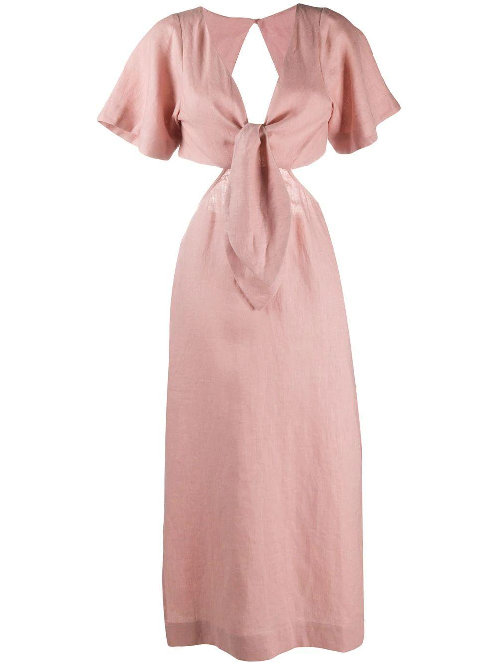 MAYA Short Sleeve Linen Midi Dress With Front Tie