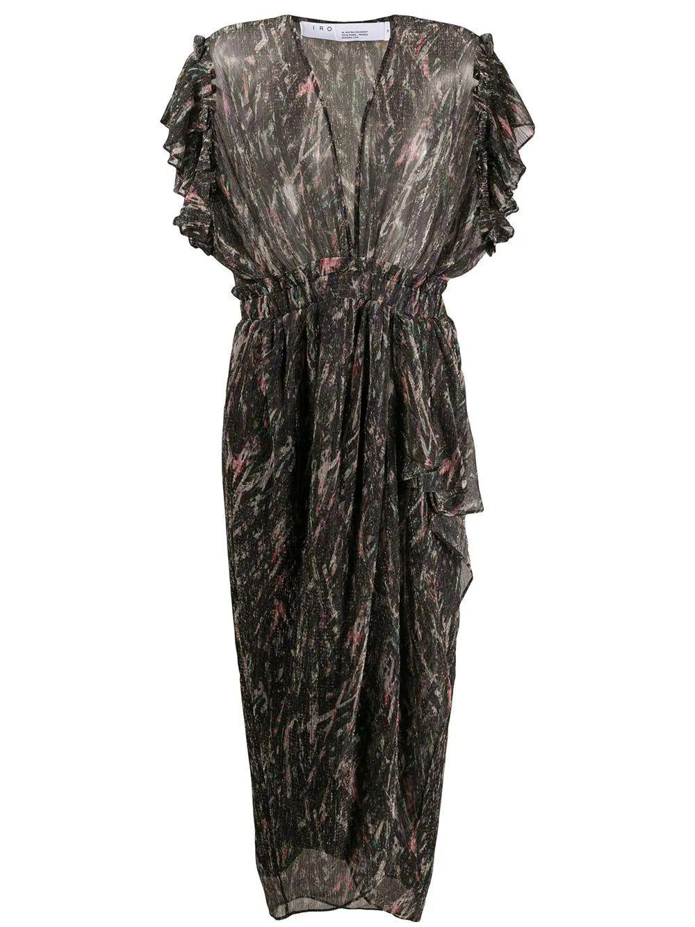 Ruffle Sleeve Midi Dress Item # GARGAS-C