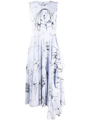 Sleeveless Silk Print Midi Dress With Drape