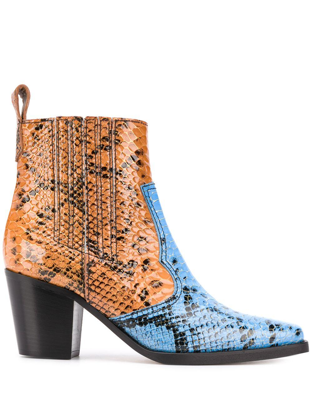 Color Block Croc Western Bootie