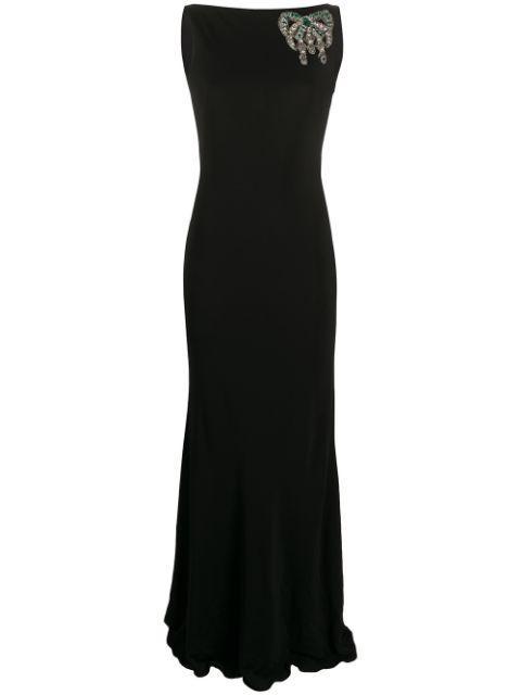 Sleeveless Jersey Low Back Dress With Embellished Shoulder Item # 606214QLAAT