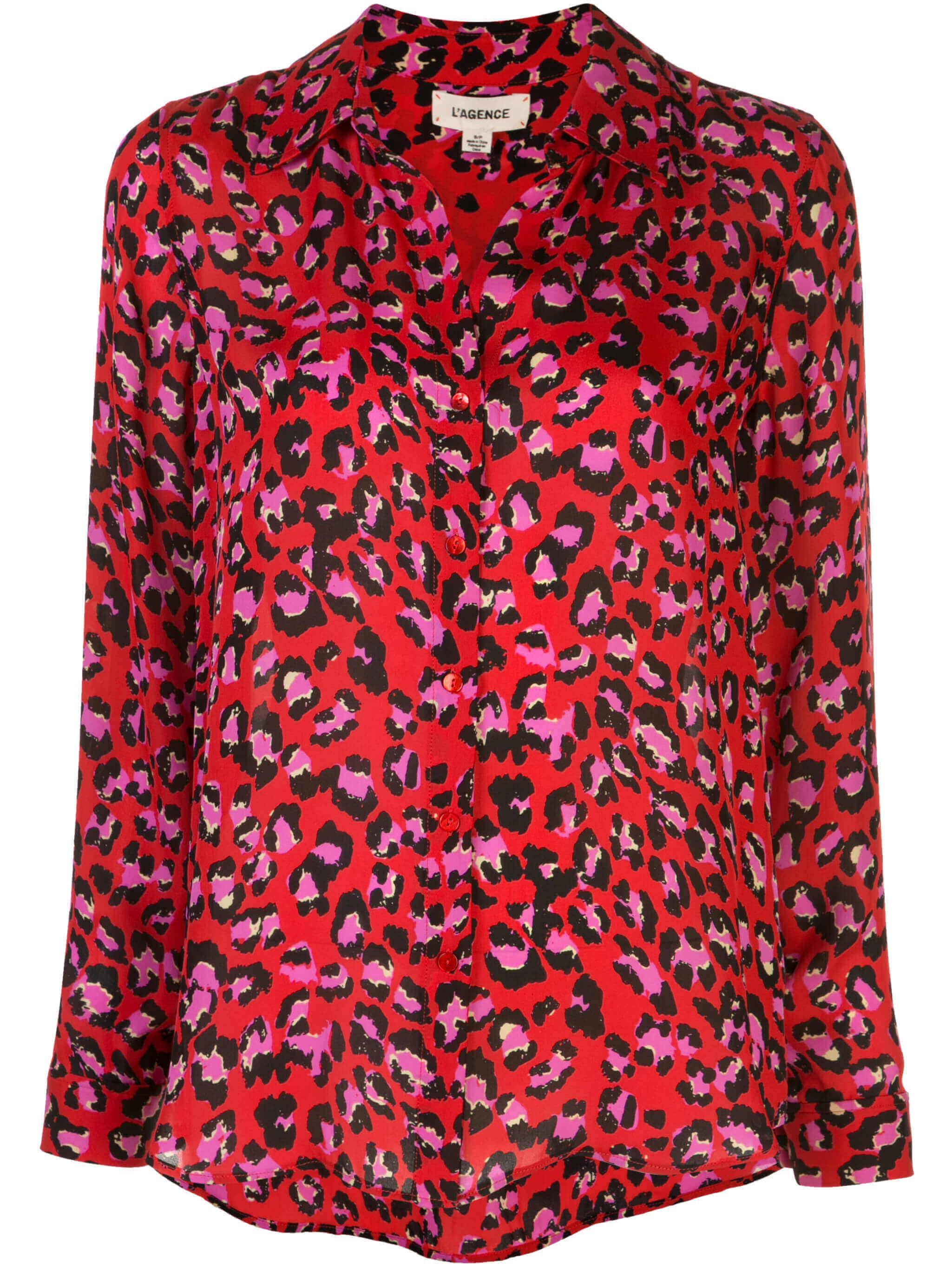 Nina Long Sleeve Animal Print Blouse