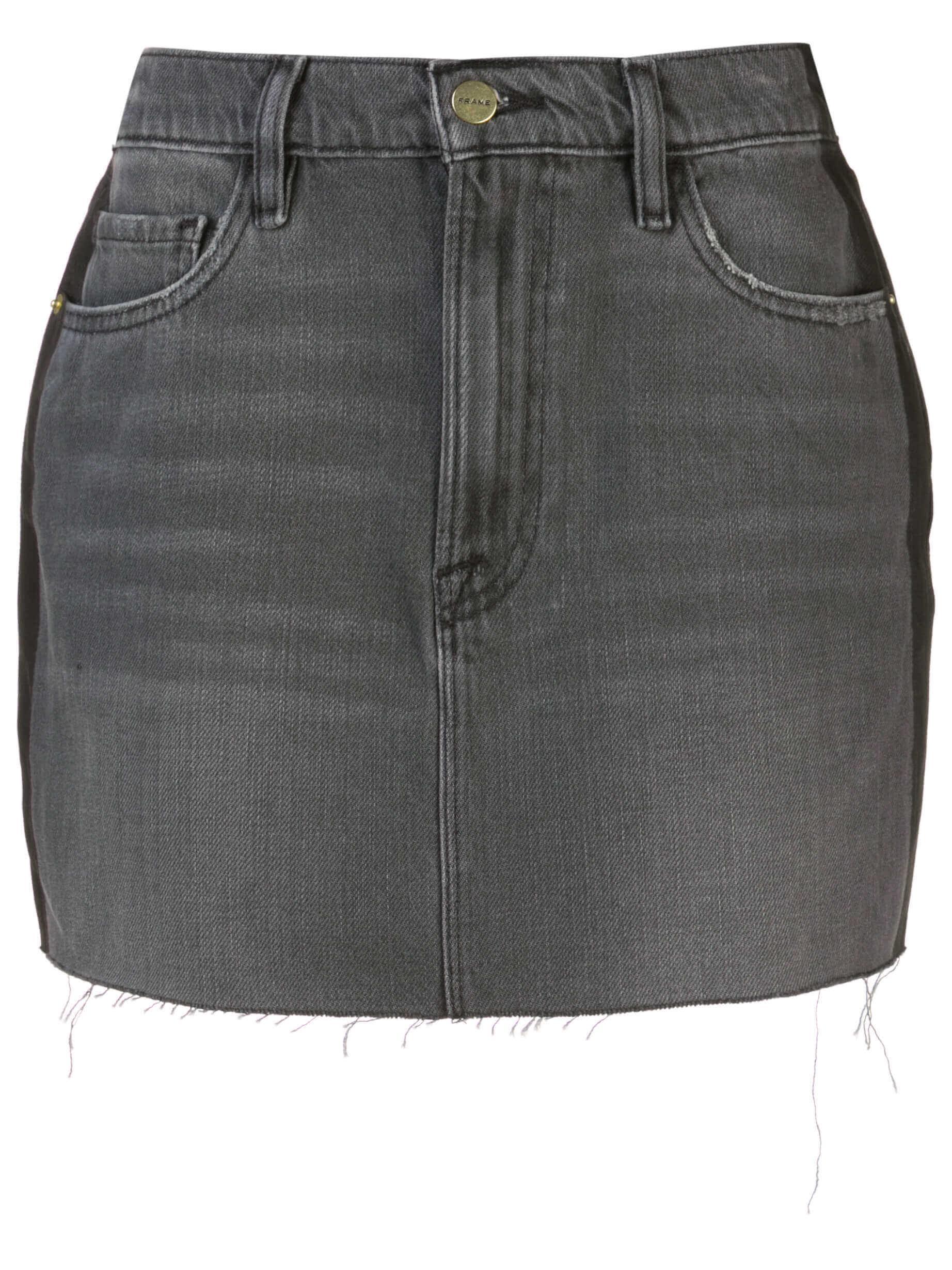 Le Mini Skirt Tux Shadow Stripe Raw Hem
