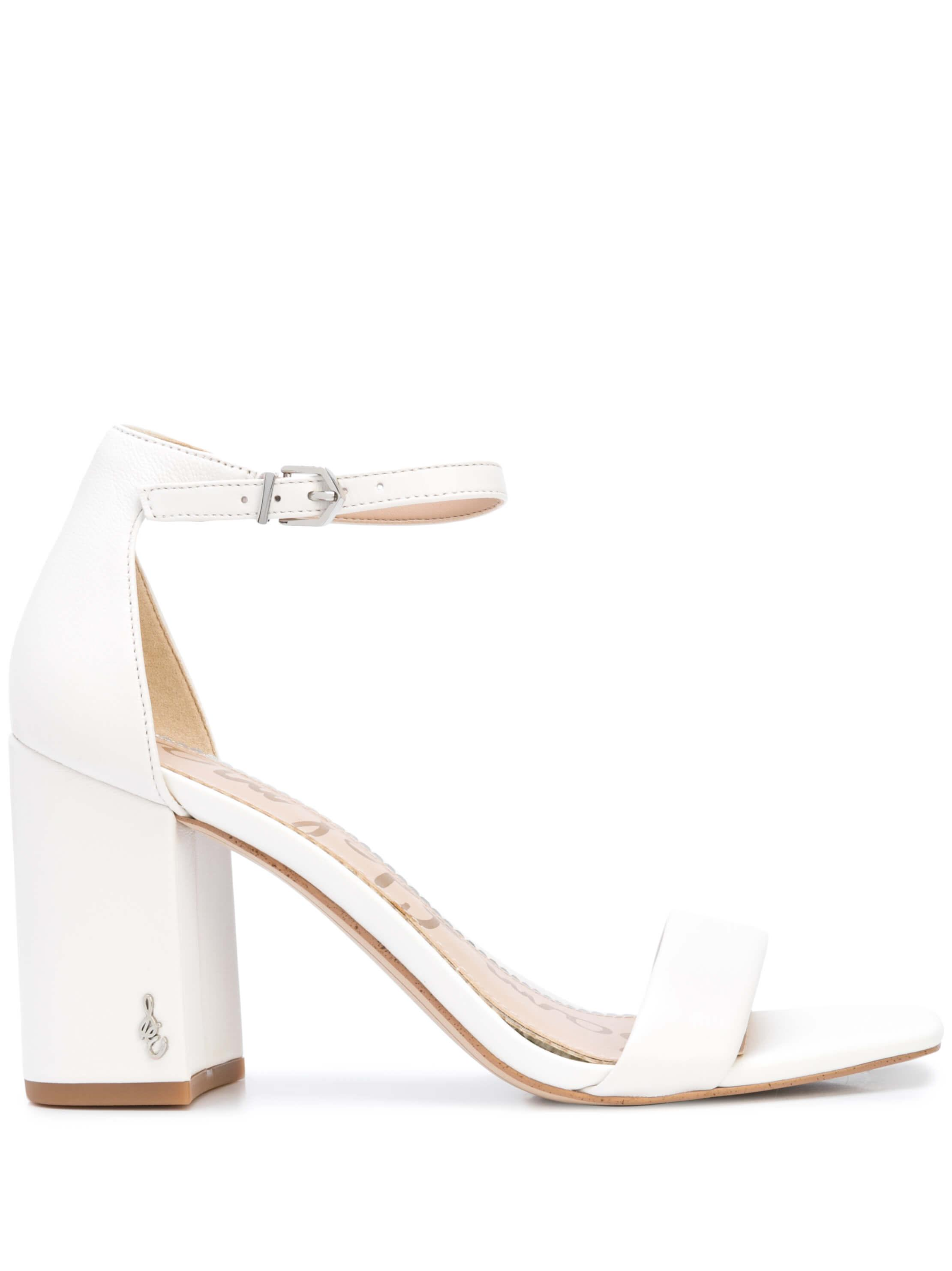 Nappa Block Heel Sandal With Ankle Strap