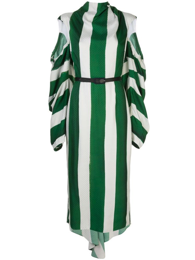 Long Sleeve Stripe Damier Dress With Open Sleeve Item # HR20D198-87