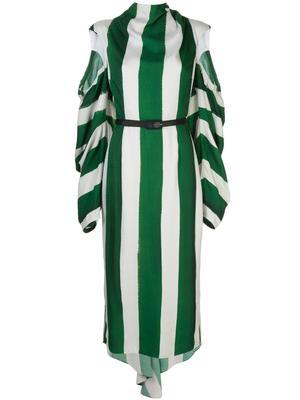 Long Sleeve Stripe Damier Dress With Open Sleeve