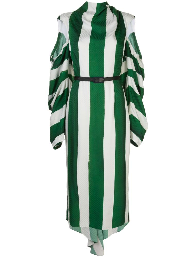 Long Sleeve Stripe Damier Dress With Open Sleeve