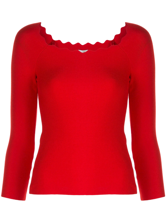 Scallop Knit Overiszed Longsleeve Pullover Item # KRT007