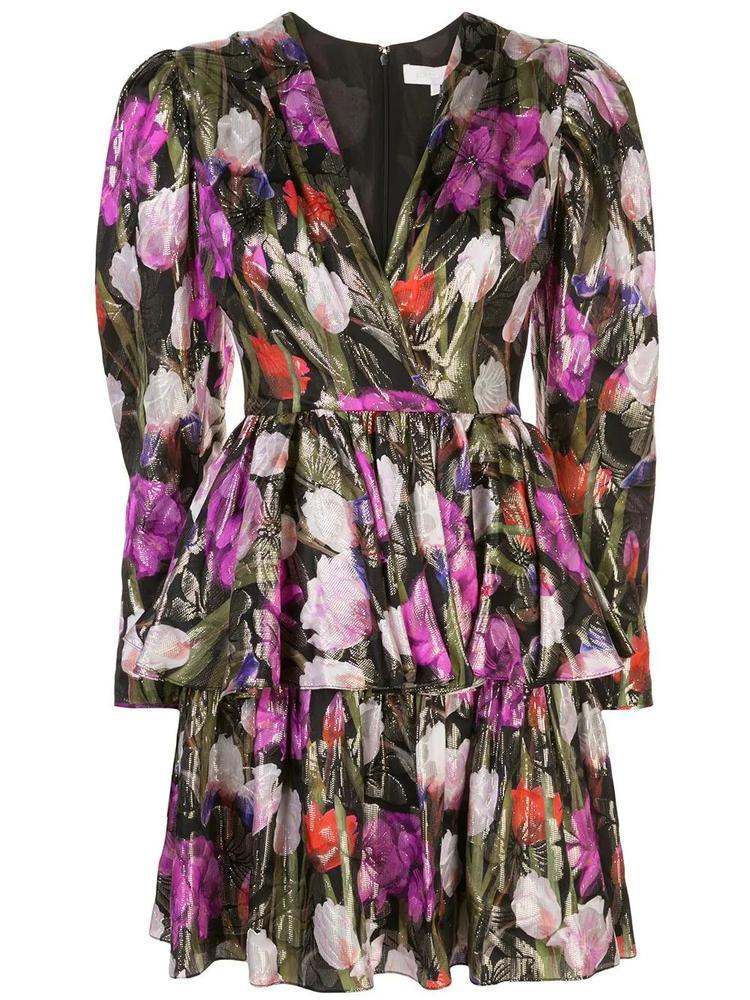 Long Sleeve V Neck Lurex Jacquard Tulip Short Dress Item # AMELIA