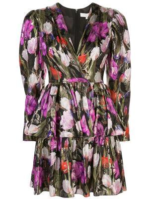 Long Sleeve V Neck Lurex Jacquard Tulip Short Dress