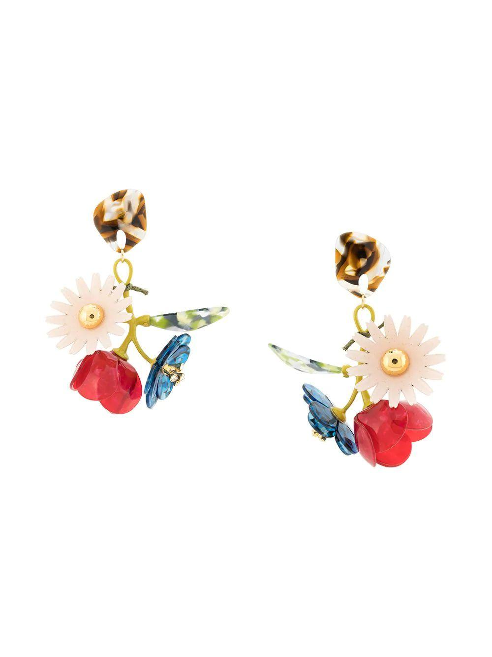 Floral Drop Earrings Item # LSO849FB