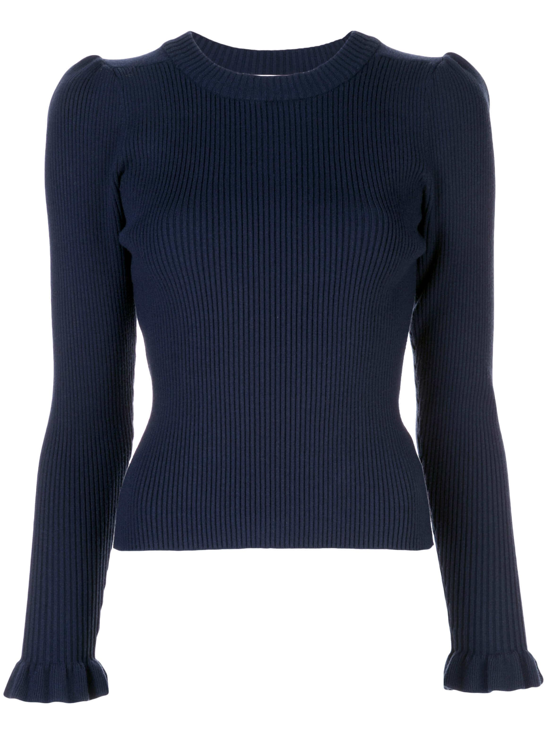 Ruffle Cuff Rib Cream Neck Long Sleeve Sweater