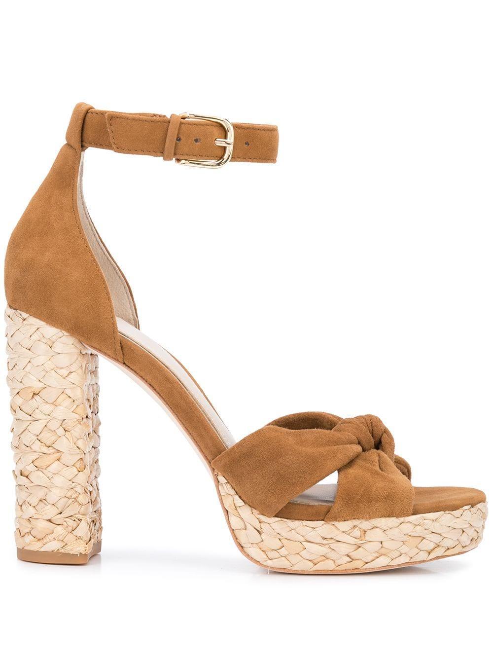 Suede Ankle Strap Straw Heel Platform Sandals Item # IVEY