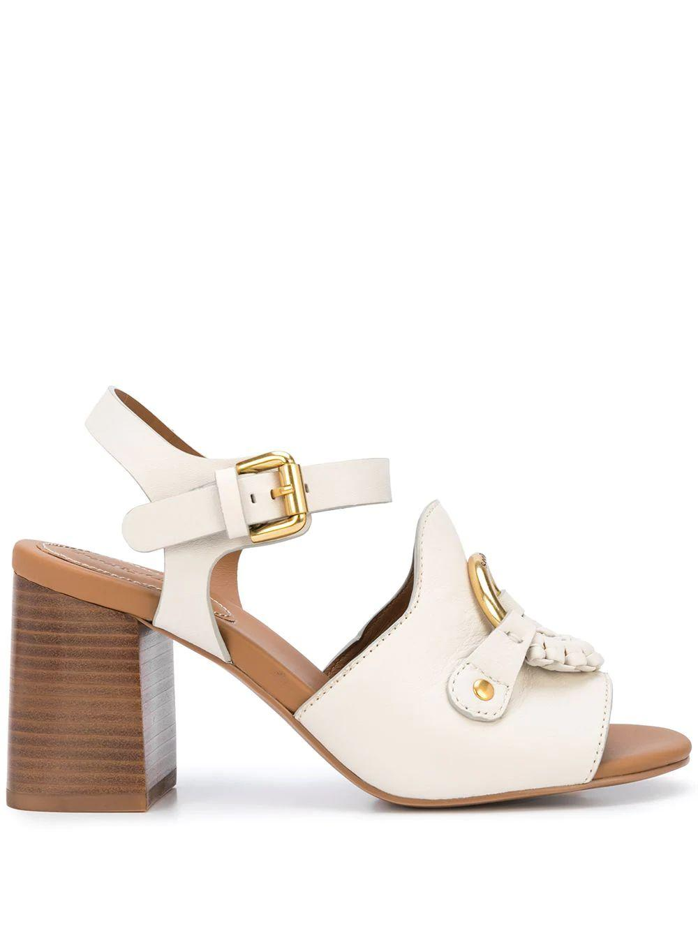 Leather Ankle Strap Sandal With Block Heel