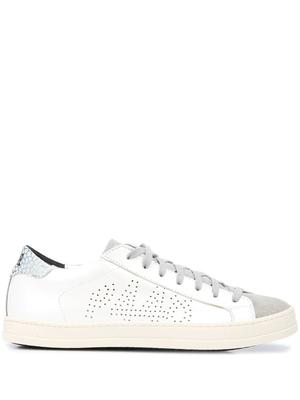 Leather Sneaker With Metallic Shimmer Tongue
