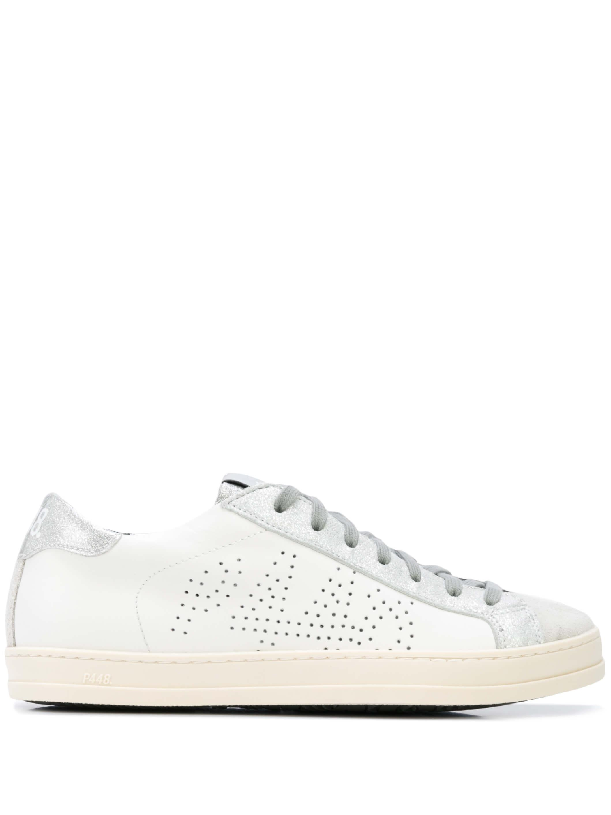 Leather Sneaker With Metallic Shimmer Tongue Item # S20JOHN-W