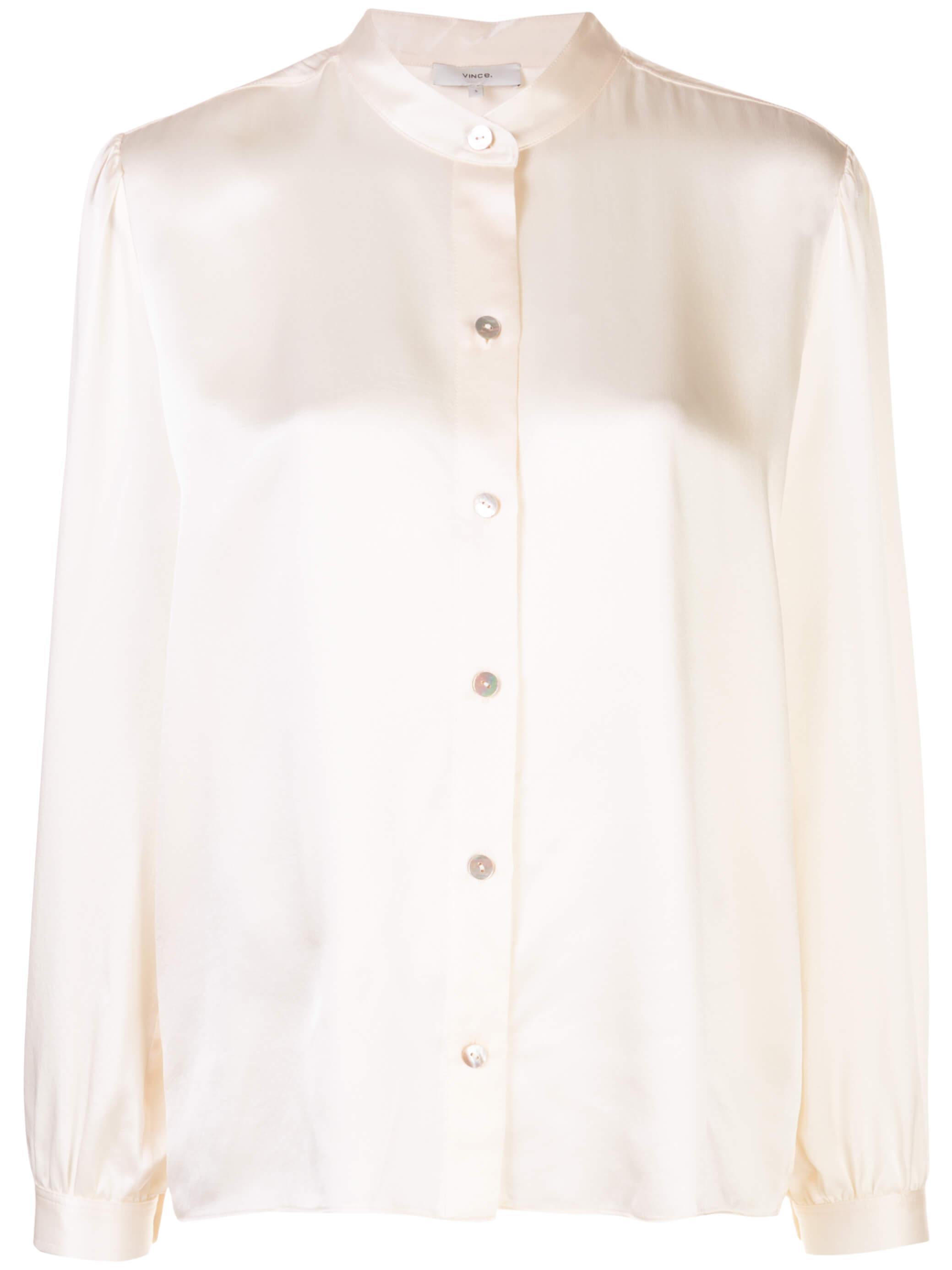 Shirred Band Collar Blouse