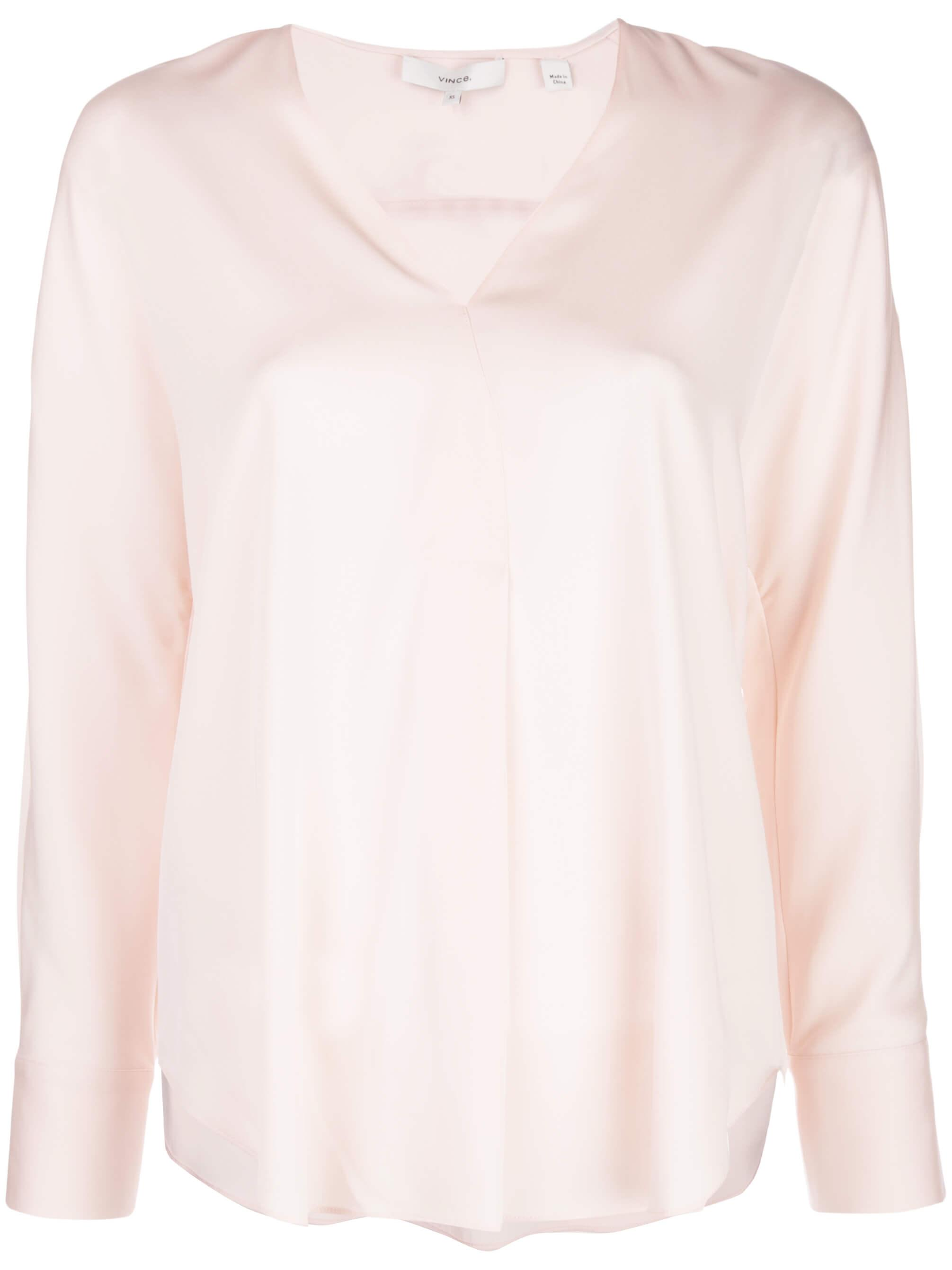 Long Sleeve Vee Neck Popover Top