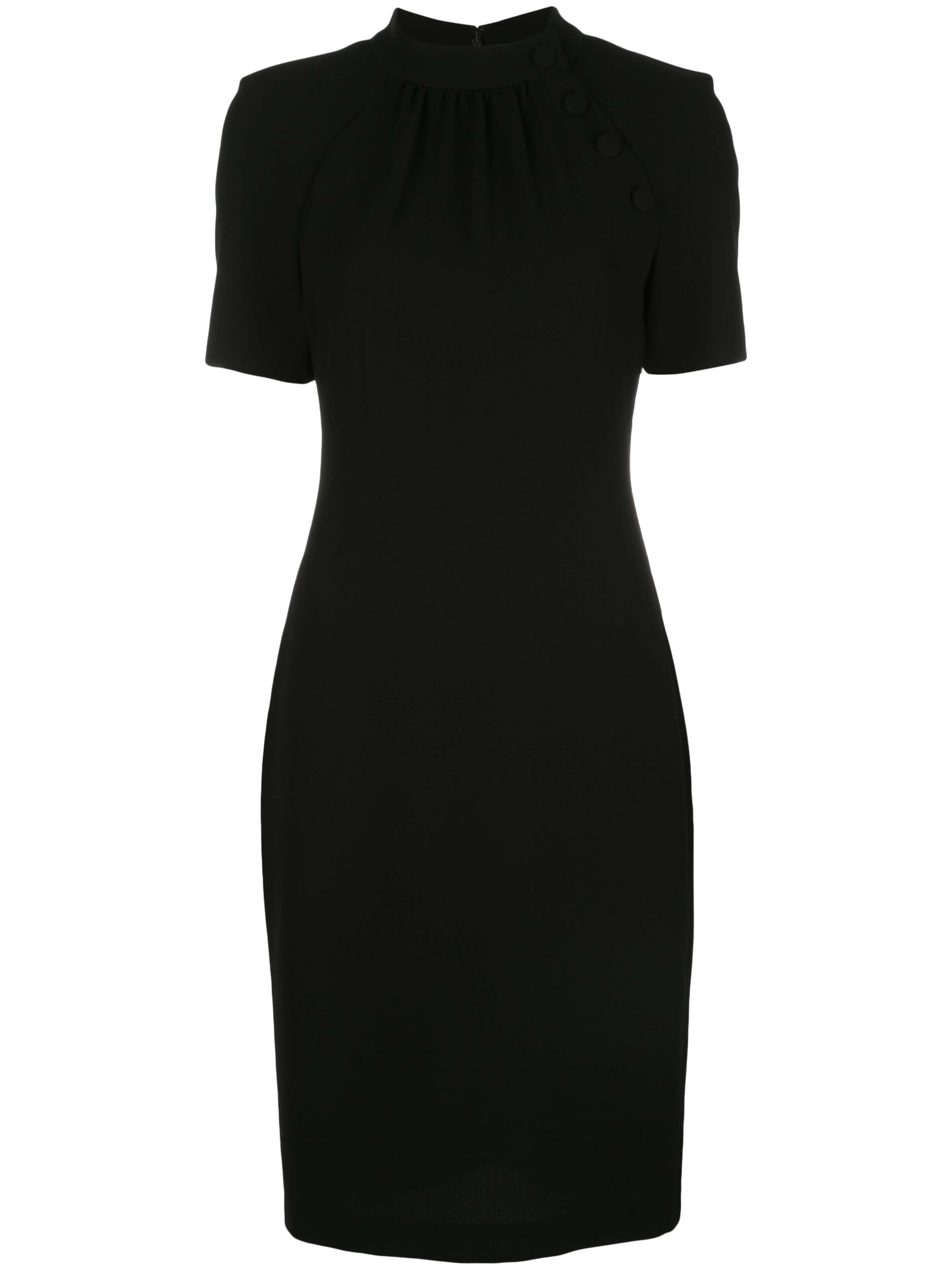 Mock Neck Sheath Dress With Buttons