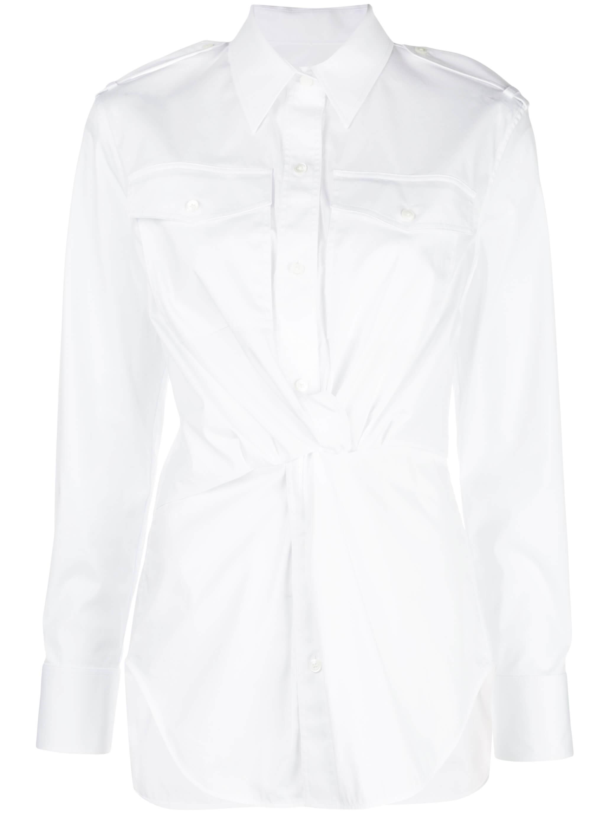 Compact Cotton Poplin Knot Shirt Item # K01HW505