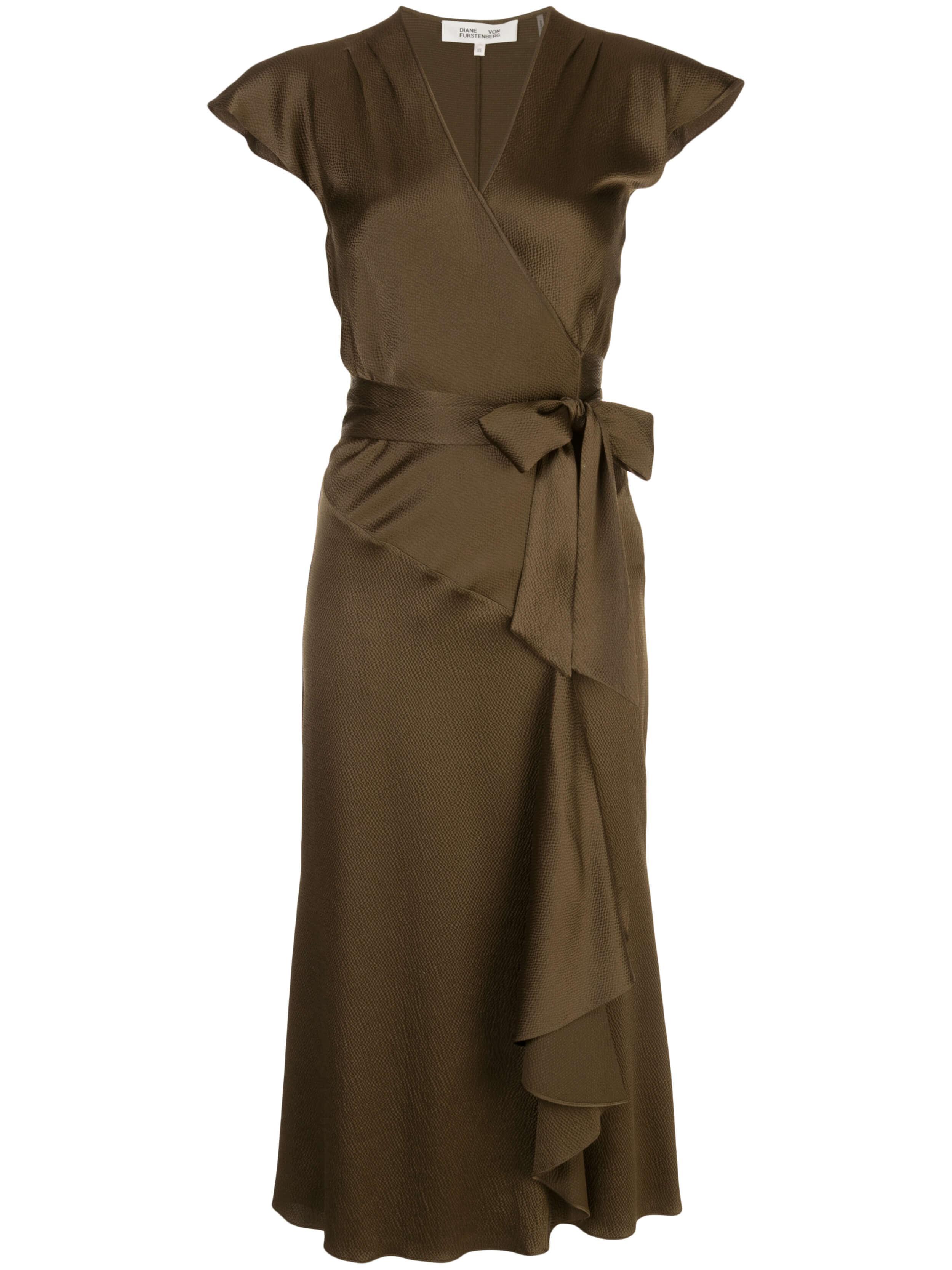 Gwendolyn Hammered Satin Wrap Dress Item # 14517DVF
