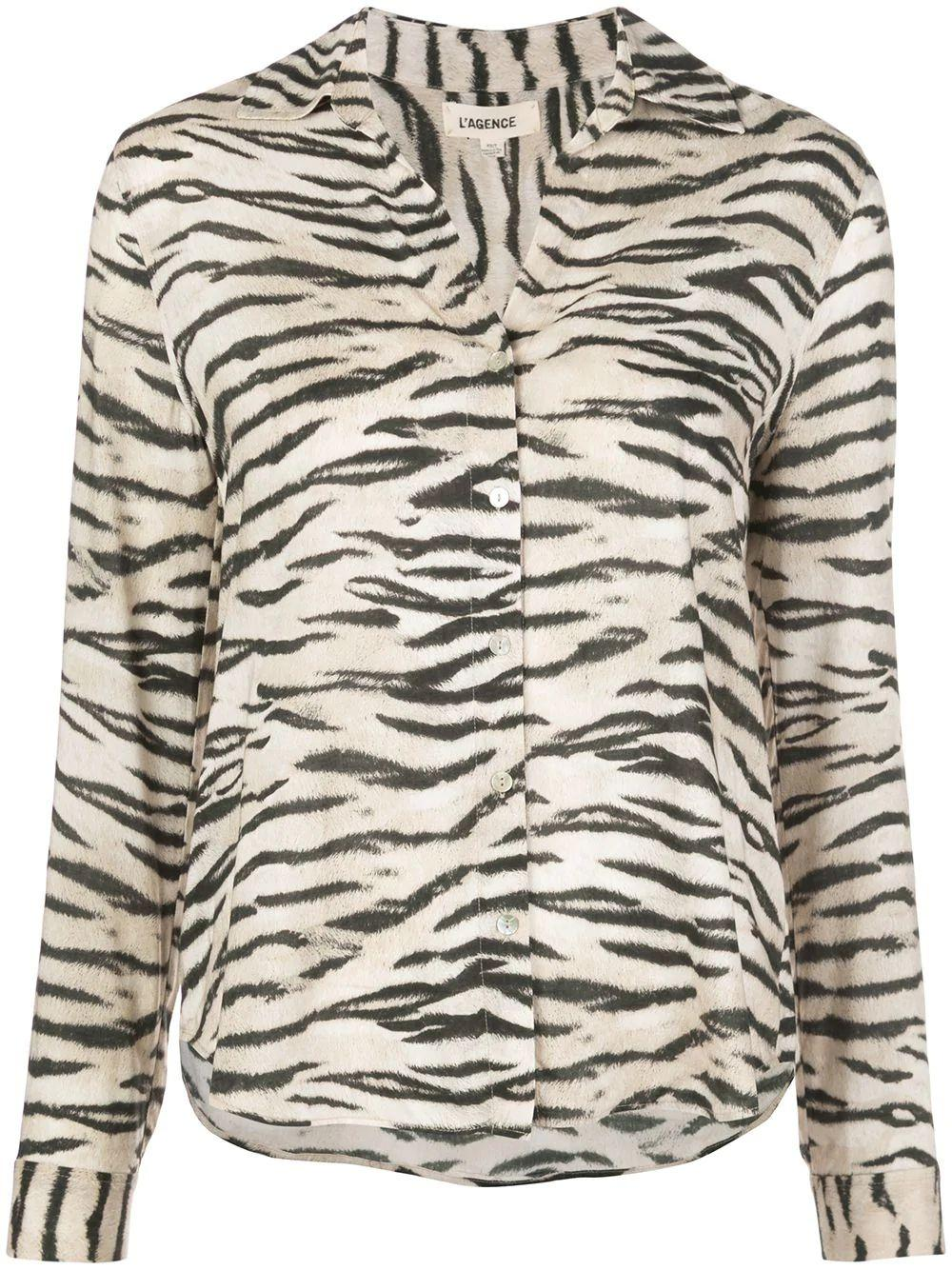 Holly Long Sleeve Zebra Print Blouse Item # 40223TGR