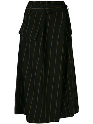 Belted Stripe Utility Midi Skirt