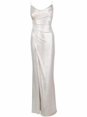 Foiled Jersey Long Dress