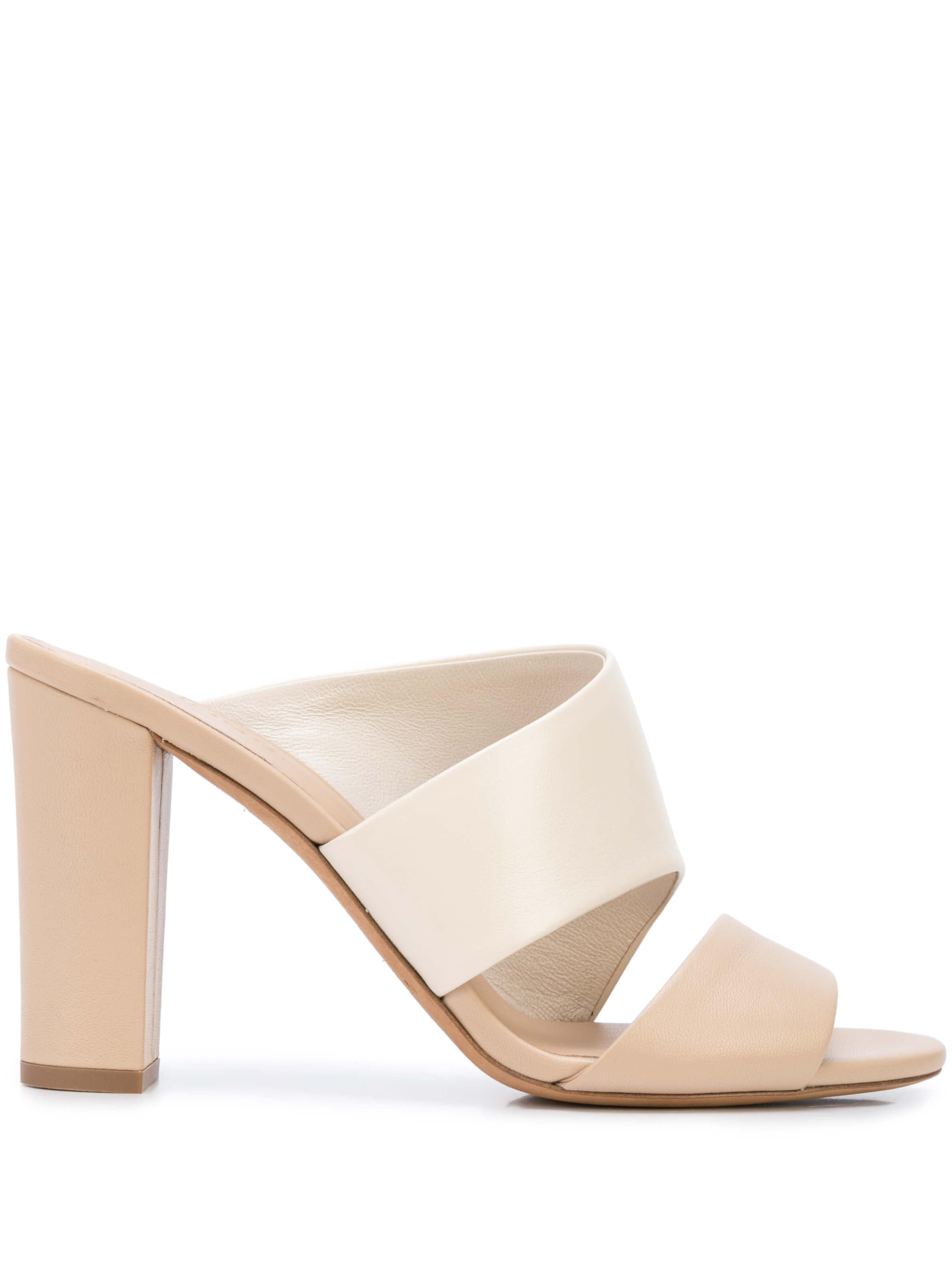 Hiro Two Tone Block Heel Slip On Sandal