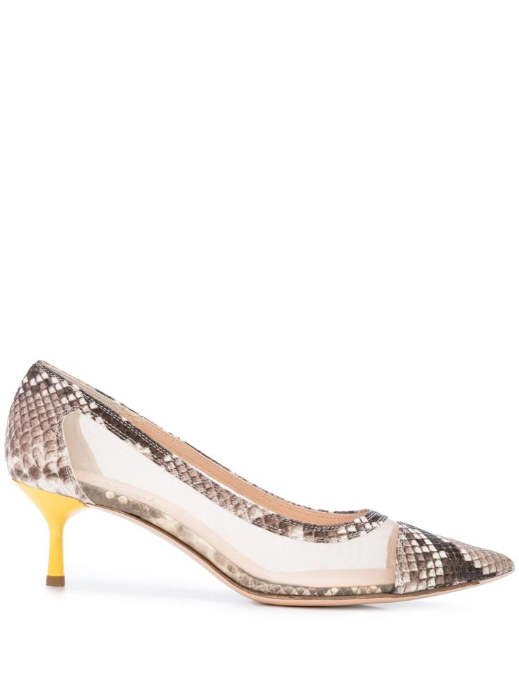 Snake Pcv Pump With Yellow Kitten Heel Item # D163014