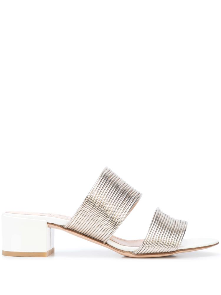 Metallic Multi Strap Slide Sandal With Block Heel Item # D631080