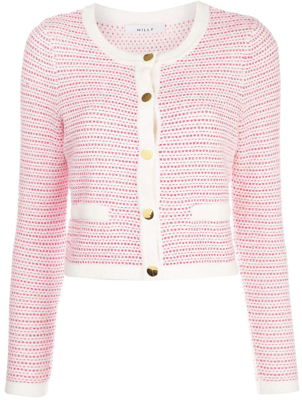 Tweed Knit Cropped Cardigan Item # KPT001